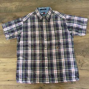 TOMMY HILFIGER Men's Plaid Short Sleeved Shirt L